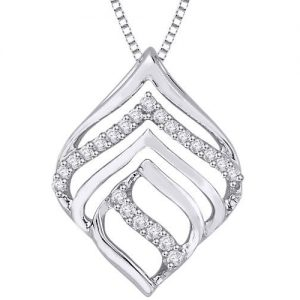 layered tear drop detailed diamond pendant