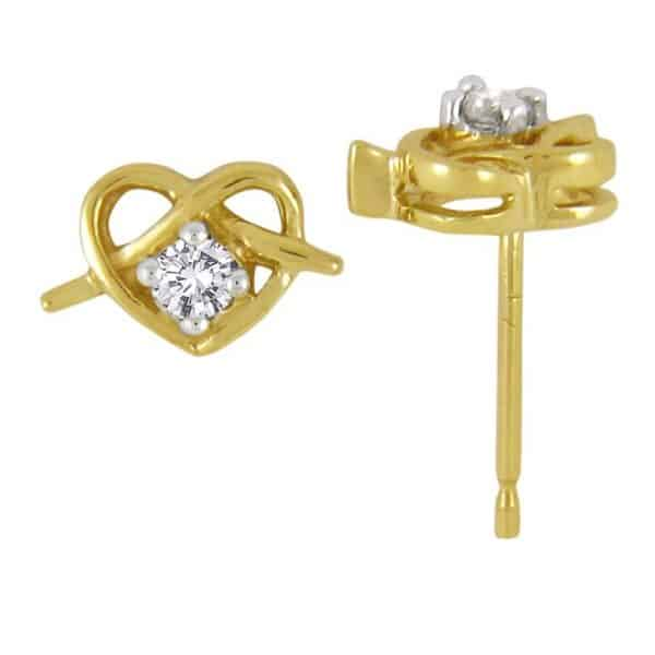 heart shaped gold earrings with diamond