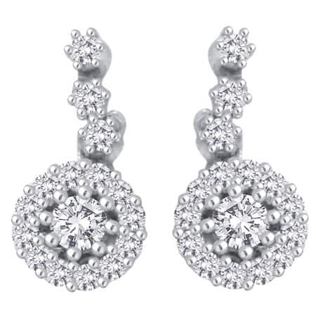 halo drop diamond earrings