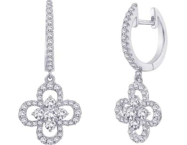 drop flowers diamond earrings