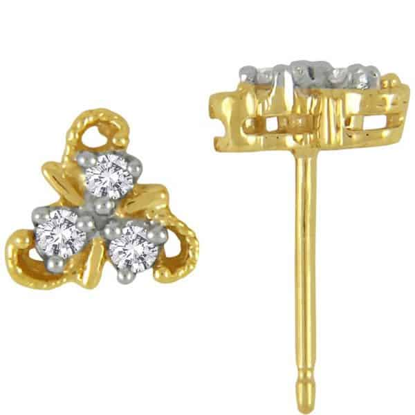 triple vine design diamond studs