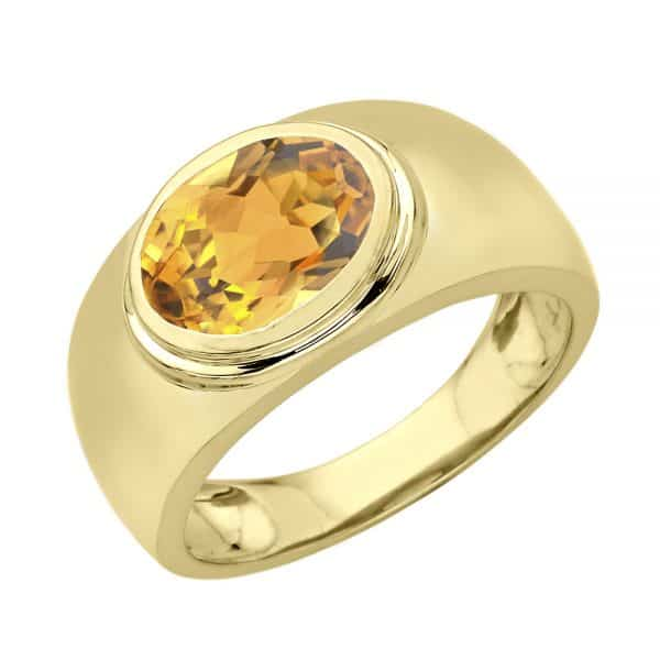 yellow gold ring with yellow stone