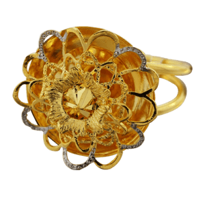 two tone flower design ring