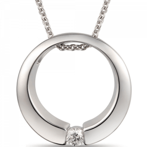 gold diamond pendant with round diamond