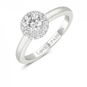 Gold Pave Set Diamond Ring With Round Brilliant Cut Diamond In the Centre