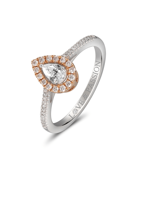 Pear Shaped With Pink Diamond Halo Ring