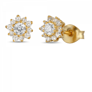 18ct Gold Round Diamond Earrings