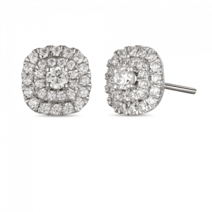 18ct Gold Pave Set Double Halo Earrings With Round Brilliant Cut Diamonds in the Centre