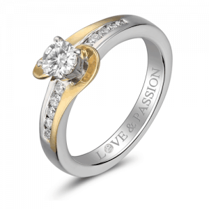 two tone swirl diamond engagement ring