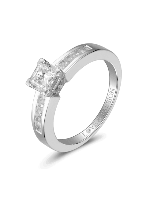 4 Claw Square Love and Passion Diamond Ring