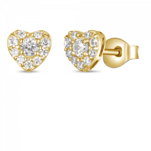 heart shape gold earrings with diamonds