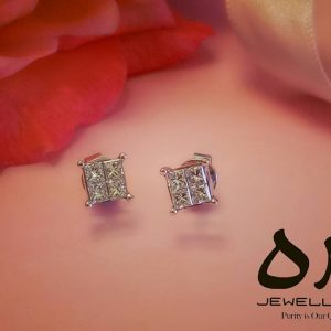 square shaped diamond earrings jewellery