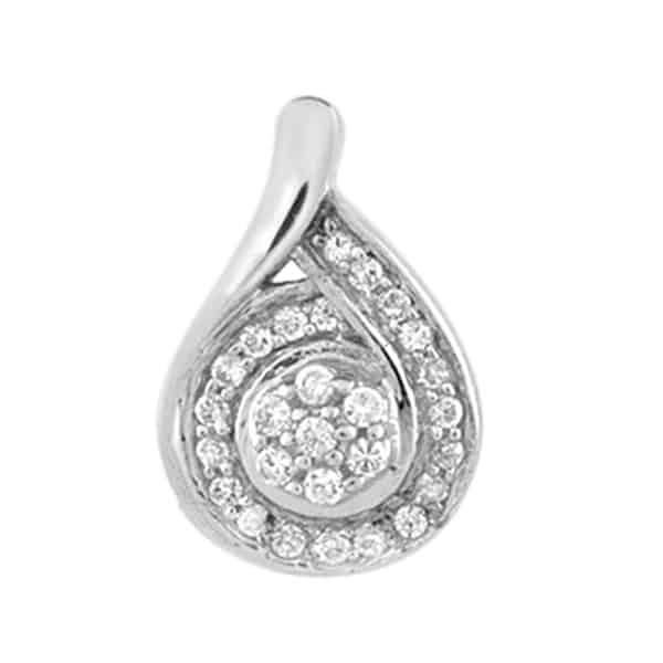 18k Tear Drop Cluster Diamond Pendant jewellers perth