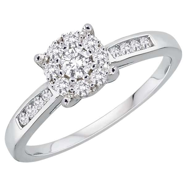 18k Cluster Halo Engagement Ring jewellers perth