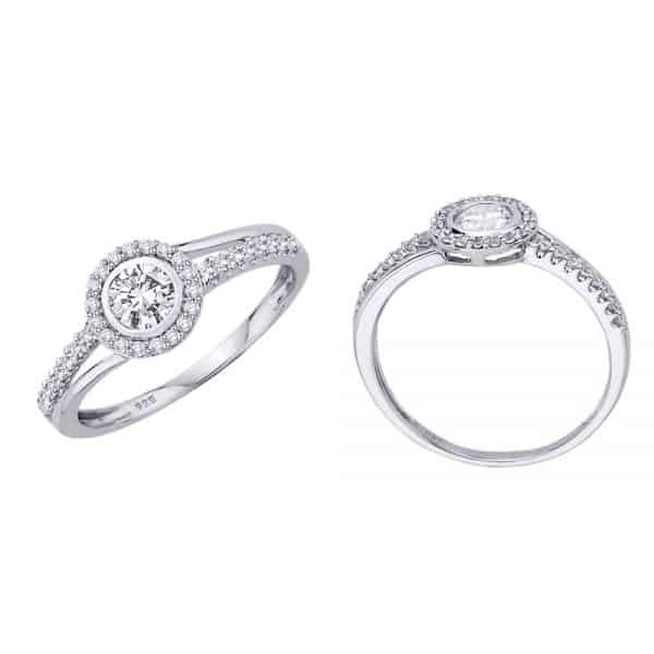 18k Flat Halo Double Shank Diamond Ring jewellery shops perth
