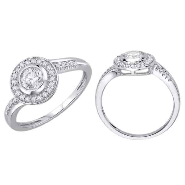 18k Flat Halo Detailed Diamond Ring jewellery stores perth