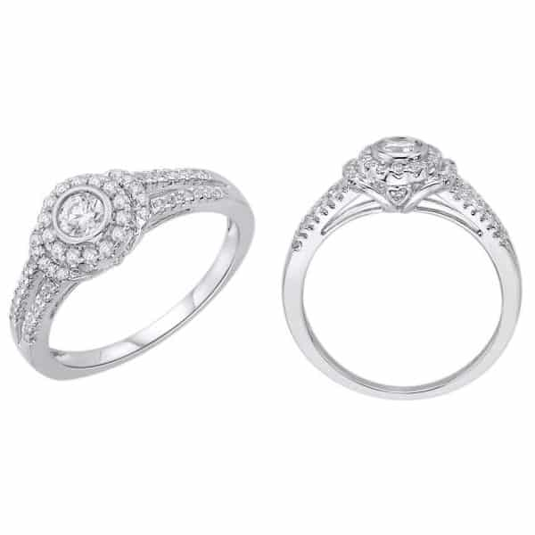 18k Halo Detailed Diamond Ring jewellery stores perth