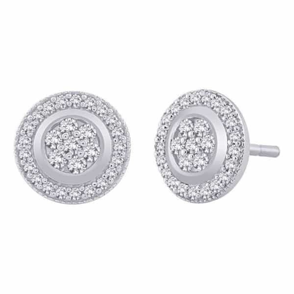 18k Round Halo Design Diamond Earrings jewellery shops perth