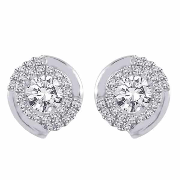 18k Spiral Diamond Earrings jewellery online