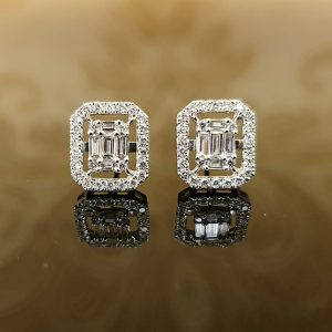 Emerald Shaped Studs with Halo jewellers perth
