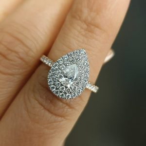 1ct Pear Shaped with Double Halo jewellery online