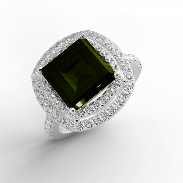 engagement rings 18K Square Tourmaline and Diamond ring