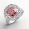18K Pink sapphire and diamond ring wedding bands