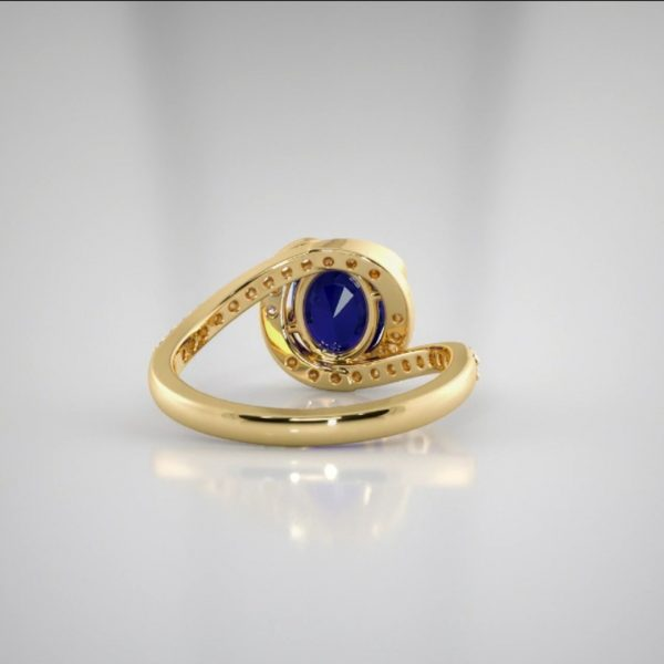 18k Twist Design Sapphire Diamond Ring jewellery designers perth