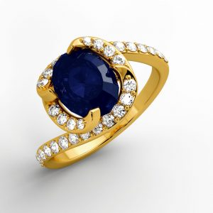 jewellers perth 18k Twist Design Sapphire Diamond Ring