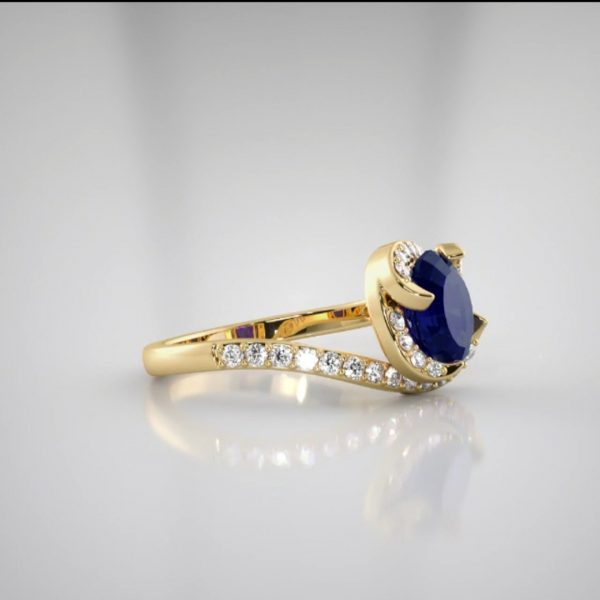 18k Twist Design Sapphire Diamond Ring engagement rings