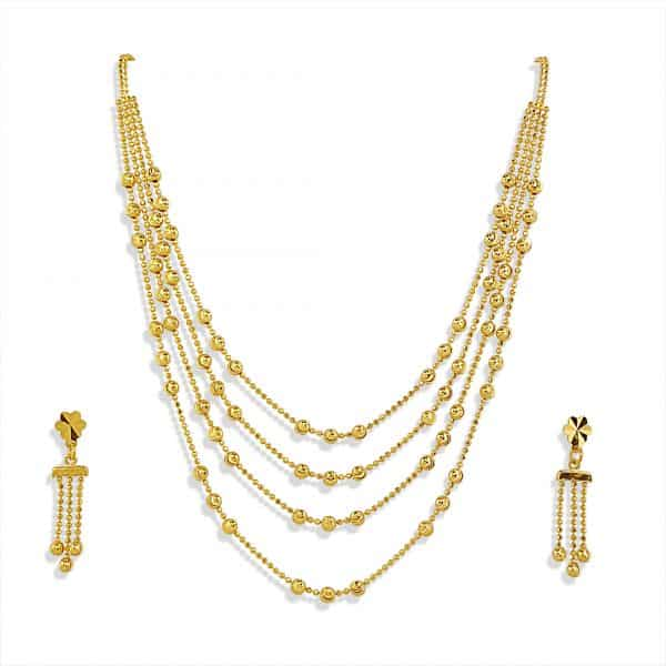22k Four Layered Necklace Set 17.43g indian jewellery perth