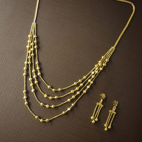 gold necklace 22k Four Layered Necklace Set 17.43g