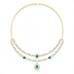 18k Diamond And Emerald Double Layered Necklace