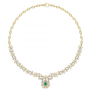 18k Diamond And Emerald Fancy Necklace