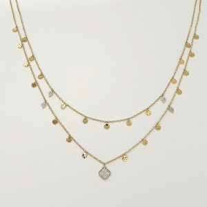 18k Diamond Two Layered Clover Designed Necklace