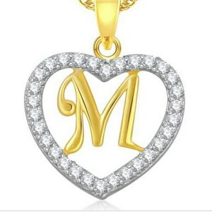 gold necklace 22k Fancy CZ Letter Pendant