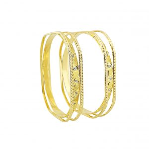 22k 3D Two Tone Bangle 54.56g jewellery online