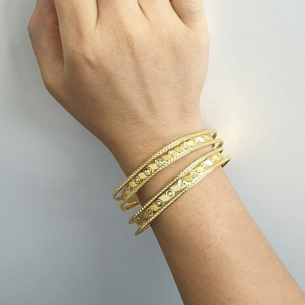 22k 3D Two Tone Bangle indian jewellery perth