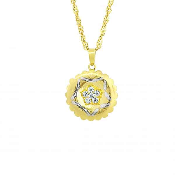 22k CZ Two Tone Round Pendant 2.25g jewellery designers gold necklace perth
