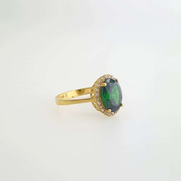 21k CZ Green Oval Halo Ring jewellery stores perth
