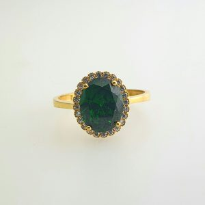 21k CZ Green Oval Halo Ring engagement rings