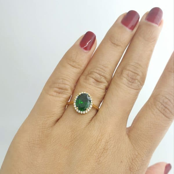 21k CZ Green Oval Halo Ring jewellers perth
