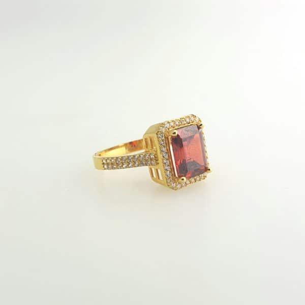 21k CZ Red Cushion Shaped Halo Ring jewellers perth