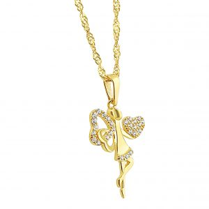 22k Cubic Zirconia Fairy Pendant 1.24g gold chains perth