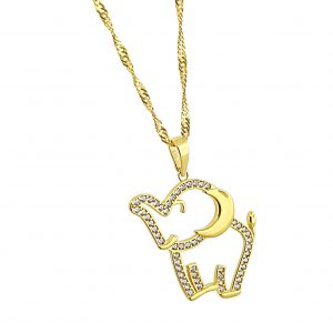 22k Cubic Zirconia Elephant Pendant 2.39g gold necklace