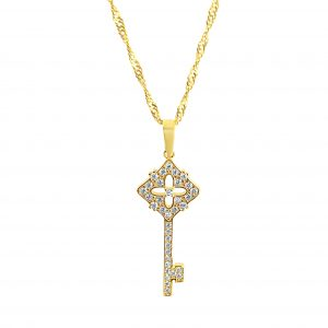 best jewellers perth 22k Floral Diamond Detail Key Pendant 1.86g