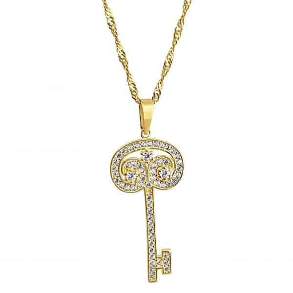 22k Cubic Zirconia Swirl Key Pendant for sale jewellery store perth