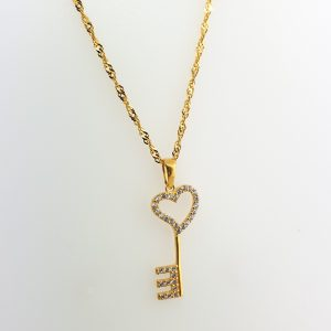22k Cubic Zirconia Heart Key Pendant jewellery shops perth