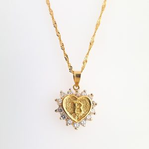 22k Cubic Zirconia Letter Heart Pendant gold necklace