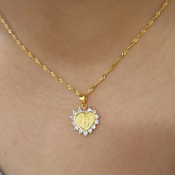 22k Cubic Zirconia Letter Heart Pendant with gold chain